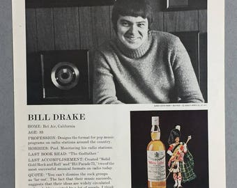 1972 Dewar's White Label Scotch Print Ad featuring Bill Drake - Vintage Scotch Ad