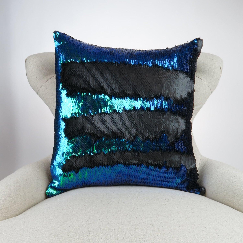Mermaid Pillow Deep Blue/Purple/Green Black Reversible Sequin