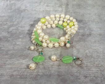 Cream/Lime Swarovski Crystal Pearls, Lime Gemstone