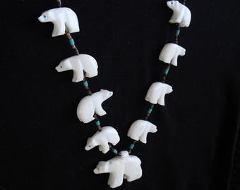 Polar Bear Fetish Necklace Carved White Alabaster Bears Turquoise Eyes Tribal Native Southwest Jewelry