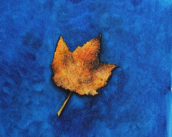 Golden Maple Leaf - Original watercolour painting by Jane Kay - Nature Lover - Trees - Fine Art