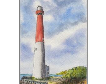 Long Beach Island NJ Barnegat Lighthouse, Original Watercolor Mounted Print 8 x10