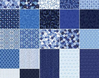 Blue Brilliance Fat Quarter Bundle, 20 Pieces, Kanvas Studio Collection, Benartex, Precut Fabric, Quilt Fabric, Cotton Fabric, Floral Fabric