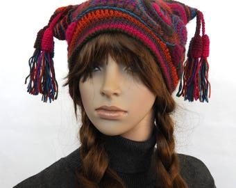 Freeform Crochet Beanie, Jester Hat, Women's Beanie, Harlequin beanie, Multi color Rainbow OOAK crochet hat with Tassels