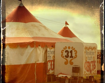 Red Gold Circus Photograph--31 Circus Tents and Trailer-Antiqued--Fine Art