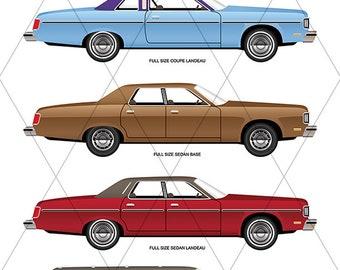 1970s Full-Size Sedan Vector Collection