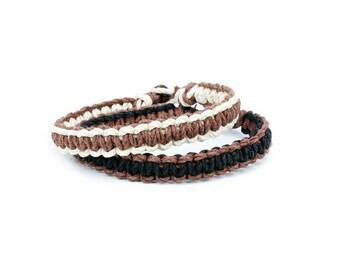 Mens Bracelet, Thick Bracelet, Hemp Bracelet, Simple Bracelet, Two Bracelets