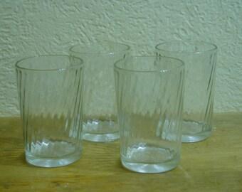 Four Vintage Swirl Snuff Glasses