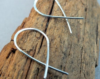 Minimalist Earrings. Sterling Silver. Simple Modern Handmade Jewelry. Small Earrings. Gift for her.