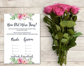 How Old Were They? Game, Bridal Shower Game, How Old Were the Bride and Groom, Guess the Ages, Coed Bridal Shower Game, Printable No. 1018