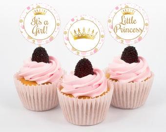Princess Cupcake Toppers, Baby Shower Cupcake Toppers, Pink and Gold Baby Shower, Princess Cupcake Toppers, Girl Baby Shower, Instant