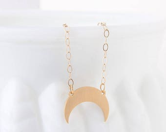 Gold Half Moon Necklace - Crescent Moon Layered Necklace  - Crescent Moon Necklace - Eclipse Necklace - Gold Crescent Moon Charm Necklace