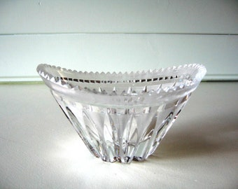 Crystal Bowl, small candy and nut dish, Hollywood Regency, saw tooth edge