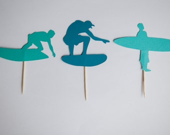 Surf cupcake toppers, Set of 12,  surfing birthday, surfing party, surfing cupcake toppers, surfing decorations, surf decorations, surfing
