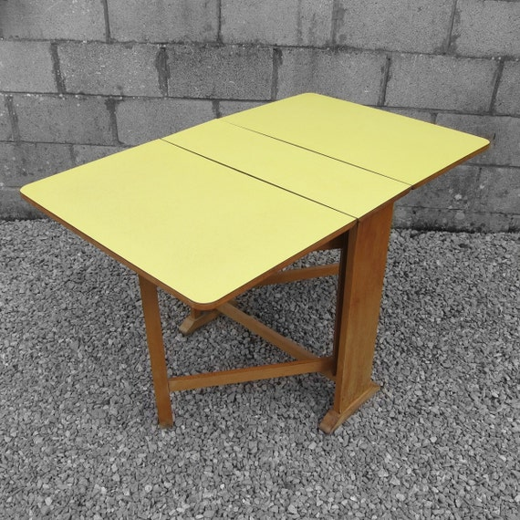 Yellow Formica Kitchen Dining Table 1960s Vintage Kitsch Old Retro