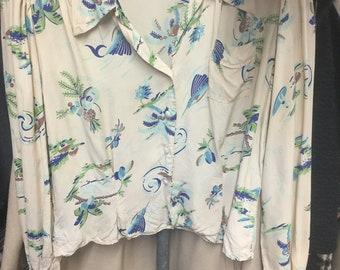 Rayon Long Sleeved Hawaiian Shirt