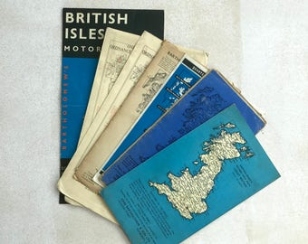 UK map set: vintage map soft covers, 7 single covers. 5 x 8.5 inches, 125 x 215 mm.