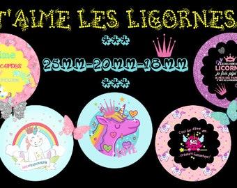 "-Cabochon - jewelry - scrapbooking - digital collage ""I love unicorns 1"" 25mm - 20 mm - 18 mm"