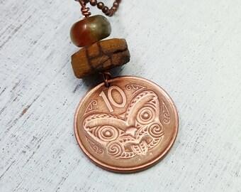 New Zealand MAORI mask COIN NECKLACE - Maori necklace - copper necklace - Coin jewelry - Kiwi necklace - mens necklace - tribal jewelry