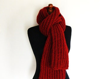 Red knitted wool winter scarf ribbed oversized wool scarf warm chunky winter scarf red wool scarf handknit winter scarf thick bulky unisex