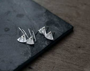 Fantail Silver earrings or studs with 14kt gold beads