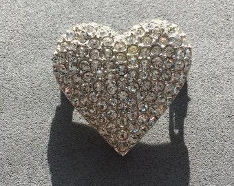 Vintage Valentine's Brooch, Diamente Rhinestone Heart, Vintage Rhinestone Heart, Vintage Rhinestone Heart Brooch, Vintage Diamente Heart