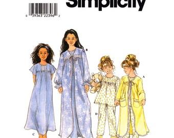 Girls Robe Nightie Pajama Pattern Simplicity 8488 Nightgown Sleepwear Girls Size 3 4 5 6 Sewing Pattern