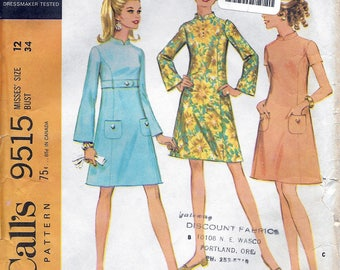 McCall's 9515 Vintage 1960s Sewing Pattern Misses' Dress in Three Versions
