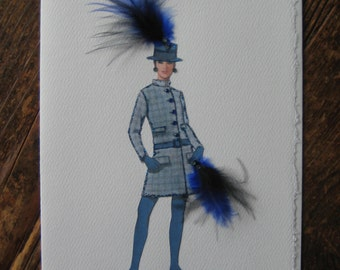 "1968 Fashion illustration Geoffrey Beene  ""Coat-Dress"" note card"