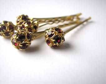 Hair Pins Garnet Red Rhinestone, Crystal Bobby Pins in Bordeaux, Burgundy Wedding Hair