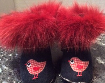 Fur booties, slippers with fur, sheep turned finished Navy suede embroidery bird slippers, size 18 months