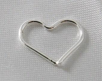 6 pcs - 15mm Heart Link Connectors Silver
