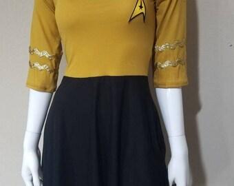 Star Trek Command Gold Retro Dress with pockets/ Star Trek Costume / Star Trek Cosplay/ Star Trek Dress