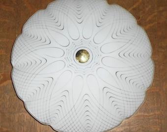 Vintage Mid Century John Virden 15inch Spirograph Swirl Saucer Light Fixture on 4 Bulb Ceiling Electric