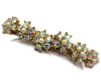 Rhinestone Hinged Bangle Bracelet - AB Rhinestones, Daisy Flowers, Faux Pearls, Gold Tone Costume Jewelry