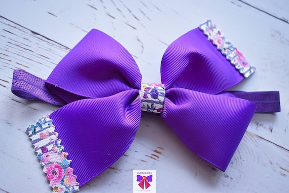Purple Floral grosgrain bow - Baby / Toddler / Girls / Kids Headband / Hairband / Barrette / Hairclip /Birthday / Party / Summer / Cakesmash