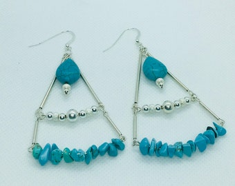 Turquoise and sterling silver chandelier earrings 2.75 inches long