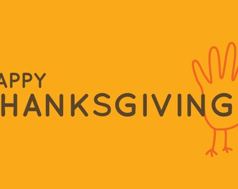 Happy Thanksgiving Turkey Hand Banner