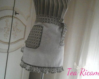 Half Terry Apron, in white, ivory and brown
