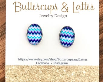 Blue and Purple Chevron Oval Stud Earrings, Blue and Purple Chevron Easter Egg Earrings