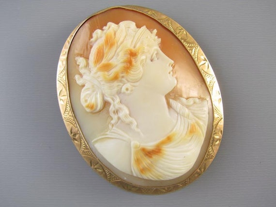 LARGE antique Edwardian rose gold cameo brooch pin pendant signed Ziething & Co