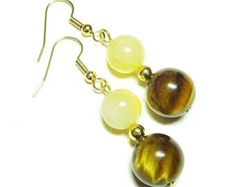 Brown Tiger's Eye & Honey Jade Gemstone Earrings
