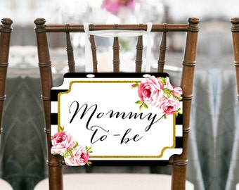 Black Stripes Gold Mommy to be Chair Banner, Baby Shower Decorations, Baby Shower Chair Banner, Mommy Sign, Printable Chair Sign TLC04 ds