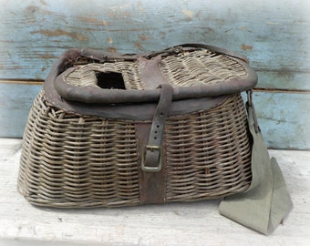 fishing creel vintage wicker basket antique leather fly strap fish trout 1940s