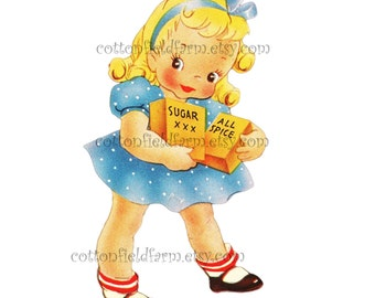 Retro Little Baker Girl Sugar and Spice Clip Art C-433 for Personal and Commercial Use, Scrapbooking, Cards, Heat Transfer Image