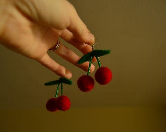 Hand felted wool earrings. Merino wool. Perfect Christmas gift