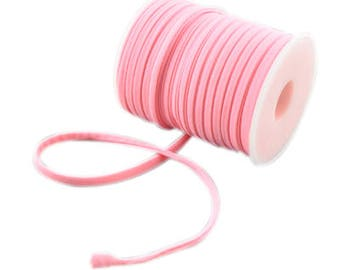 2 Meters Stitched Baby Pink Nylon Lycra Cord, Soft And Thick Cord, Stretchy Nylon Lycra String, Elastic Cord 5 mm Sold in 2 & 5 meter Length