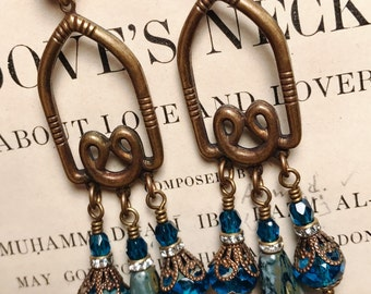 Long Teal and Capri Blue Picasso Antique Brass Art Deco Vintage Inspired Chandelier Earrings