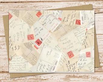 postcards note card set . vintage postcard notecards .  travel, letters . blank cards . folded stationery . stationary . set of 6
