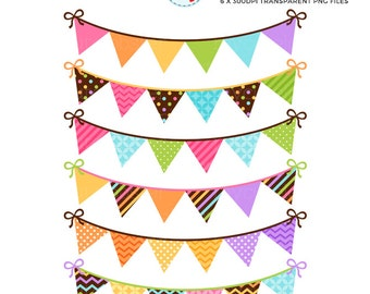 Bunting Clipart Set - Spring Brights - patterned bunting, digital bunting, clip art - personal use, small commercial use, instant download